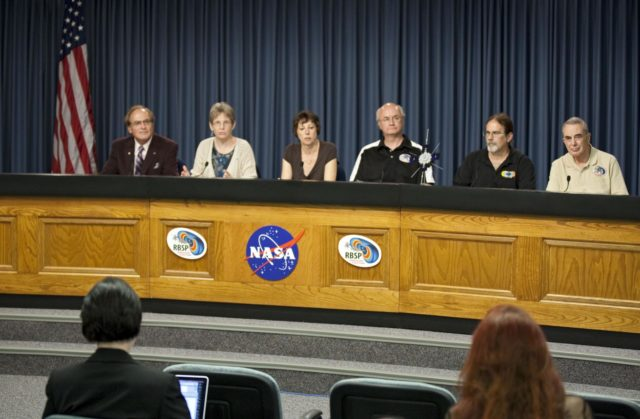 CAPE CANAVERAL, Fla. - A mission science briefing was held at NASA Kennedy Space Center's Press Site in Florida for the Radiation Belt Storm Probes, or RBSP, mission. From left, are George Diller, public affairs specialist and news conference moderator, Mona Kessel, RBSP program scientist from NASA Headquarters in Washington, Nicola Fox, RBSP deputy project scientist at Johns Hopkins Applied Physics Laboratory in Laurel, Md., Craig Kletzing, principal investigator from the University of Iowa, Harlan Spence, principal investigator from the University of New Hampshire, and Lou Lanzerotti, principal investigator from the New Jersey Institute of Technology.     NASA's RBSP mission will help us understand the sun's influence on Earth and near-Earth space by studying the Earth's radiation belts on various scales of space and time. RBSP will begin its mission of exploration of Earth's Van Allen radiation belts and the extremes of space weather after its launch aboard an Atlas V rocket. Launch is targeted for Aug. 24. For more information, visit http://www.nasa.gov/rbsp. Photo credit: NASA/Glenn Benson KSC-2012-4551
