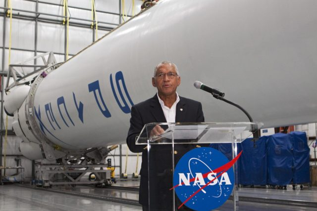 CAPE CANAVERAL, Fla. -- Inside the Space Exploration Technologies, or SpaceX, processing facility near NASA's Kennedy Space Center in Florida, NASA Administrator Charlie Bolden announced new milestones in the nation's commercial space initiatives.     Bolden announced that SpaceX has completed its Space Act Agreement with NASA for Commercial Orbital Transportation Services. SpaceX is scheduled to launch the first of its 12 contracted cargo flights to the space station from Cape Canaveral this October, under NASA's Commercial Resupply Services Program. Bolden also announced NASA partner Sierra Nevada Corp. has conducted its first milestone under the agency's recently announced Commercial Crew Integrated Capability initiative. The milestone, a program implementation plan review, marks an important first step in Sierra Nevada's efforts to develop a crew transportation system with its Dream Chaser spacecraft. Through NASA's commercial space initiatives and programs, the agency is providing investments to stimulate the American commercial space industry. Photo credit: NASA/Kim Shiflett KSC-2012-4585