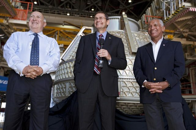 CAPE CANAVERAL, Fla. – Space Florida President Frank DiBello, NASA Administrator Charlie Bolden, and Boeing's Vice President and General Manager of Space Exploration John Elbon address the media inside Orbiter Processing Facility-3, or OPF-3, at NASA's Kennedy Space Center in Florida. Bolden took a few dozen media on a road show tour of the center and adjacent Cape Canaveral Air Force Station to show the progress being made for future government and commercial space endeavors that will begin from Florida's Space Coast. Boeing is leasing OPF-3 through an agreement with Space Florida for the manufacturing and assembly of its CST-100 spacecraft, which is under development in collaboration with NASA's Commercial Crew Program.    During his tour, Bolden announced that Space Exploration Technologies, or SpaceX, has completed its Space Act Agreement with NASA for Commercial Orbital Transportation Services. SpaceX is scheduled to launch the first of its 12 contracted cargo flights to the space station from Cape Canaveral this October, under NASA's Commercial Resupply Services Program. Bolden also announced NASA partner Sierra Nevada Corp. has conducted its first milestone under the agency's recently announced Commercial Crew Integrated Capability CCiCap initiative. The milestone, a program implementation plan review, marks an important first step in Sierra Nevada's efforts to develop a crew transportation system with its Dream Chaser spacecraft. Through NASA's commercial space initiatives and programs, the agency is providing investments to stimulate the American commercial space industry. Photo credit: NASA/Kim Shiflett KSC-2012-4607