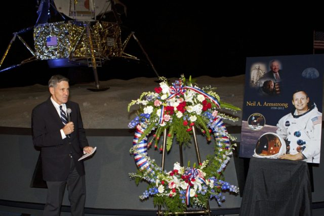 CAPE CANAVERAL, Fla. - Kennedy Space Center Director Bob Cabana spoke to spaceport employees and guests at a brief ceremony on Aug. 31, 2012 honoring Neil Armstrong, who died Aug. 25, 2012 at the age of 82. Armstrong was hailed by Cabana as one of our heroes and a truly a great American. Cabana, also a former astronaut, placed a wreath near a replica lunar module at the spaceport's Apollo-Saturn V Center.      Selected as an astronaut in 1962, Neil Armstrong flew on NASA's Gemini 8 with David Scott in March 1966 and the first lunar landing mission, Apollo 11, with Mike Collins and Buzz Aldine in July 1969. On July 20, 1969, he became the first human to walk on the moon. For more information, visit: http://www.nasa.gov/centers/kennedy/news/neil_armstrong.html Photo credit: NASA/Kim Shiflett KSC-2012-4812