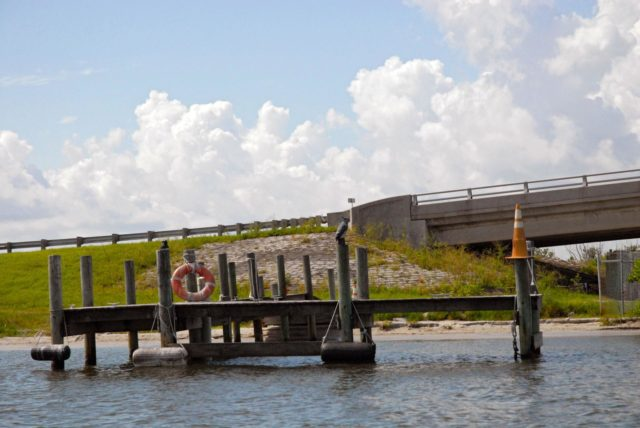 "CAPE CANAVERAL, Fla. – A boat dock and the Roy D. Bridges Jr. Bridge connecting NASA Kennedy Space Center's Industrial Area to Cape Canaveral Air Force Station's Industrial Area are seen during a field-guided boat tour. As part of the Kennedy's first-ever Innovation Expo, the tour, called ""Living Outdoor Laboratory for Environmental Sustainability,"" is giving employees the opportunity to see the unique estuarine ecosystems that are protected from development by the presence of the center and the Merritt Island National Wildlife Refuge.       The diverse and healthy area encompassing about 140,000 acres of central Florida's east coast has been closed to the public for 50 years, allowing the coastal dunes, saltwater estuaries and marshes, freshwater impoundments, scrub, pine flatwoods, and hardwood hammocks to provide habitats for more than 1,000 species of plants and animals. Innovation Expo is showcasing the innovative work taking place throughout the center's facilities and labs to encourage employees to work together to solve future challenges. For more information, visit http://www.nasa.gov/kennedy. Photo credit: NASA KSC-2012-4878"