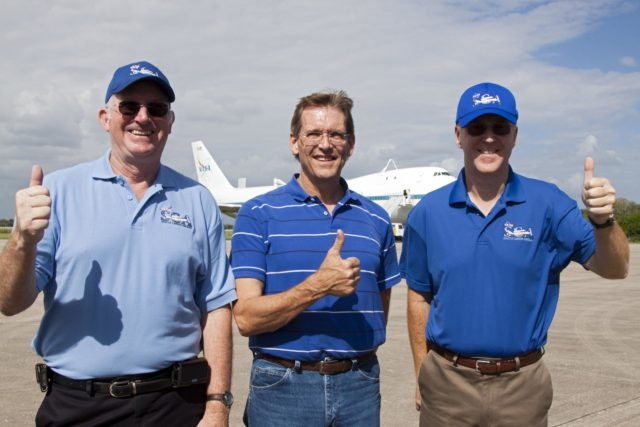 CAPE CANAVERAL, Fla. - Henry Taylor, from left to right, chief flight engineer on the Shuttle Carrier Aircraft, or SCA, Gary Ash, flight engineer, and Jeff Moultrie, pilot, look ahead to flying space shuttle Endeavour from NASA's Kennedy Space Center in Florida to Los Angeles for public display. Photo credit: NASA/Kim Shiflett KSC-2012-5023