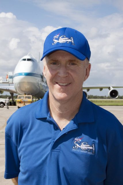 CAPE CANAVERAL, Fla. - Jeff Moultrie is the pilot of the Shuttle Carrier Aircraft, or SCA, that will take space shuttle Endeavour from NASA's Kennedy Space Center in Florida to Los Angeles for public display. Photo credit: NASA/Kim Shiflett KSC-2012-5025