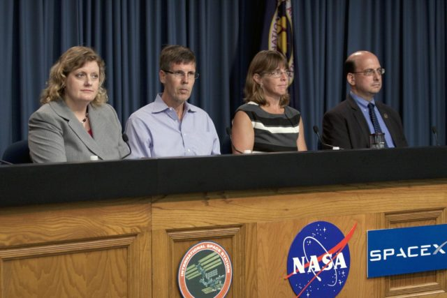CAPE CANAVERAL, Fla. -- Scientists participate in a space station and mission science briefing in NASA Kennedy Space Center's Press Site auditorium in Florida. From left are Julie Robinson, program scientist for International Space Station at NASA's Johnson Space Center, Timothy Yeatman, interim chief scientist at the Center for the Advancement of Science in Space, Sheila Nielsen-Preiss, cell biologist at Montana State University, and Scott Smith, NASA nutritionist at NASA's Johnson Space Center.       The briefing provided media with an overview of the experiments and payloads scheduled for launch on NASA's first Commercial Resupply Services, or CRS-1, mission to the International Space Station. Space Exploration Technologies Corp., or SpaceX, built both the mission's Falcon 9 rocket and Dragon capsule. Launch is scheduled for 8:35 p.m. EDT on Oct. 7 from Space Launch Complex 40 on Cape Canaveral Air Force Station.  SpaceX CRS-1 is an important step toward making America's microgravity research program self-sufficient by providing a way to deliver and return significant amounts of cargo, including science experiments, to and from the orbiting laboratory. NASA has contracted for 12 commercial resupply flights from SpaceX and eight from the Orbital Sciences Corp. For more information, visit http://www.nasa.gov/mission_pages/station/living/launch/index.html.  Photo credit: NASA/Kim Shiflett KSC-2012-5685