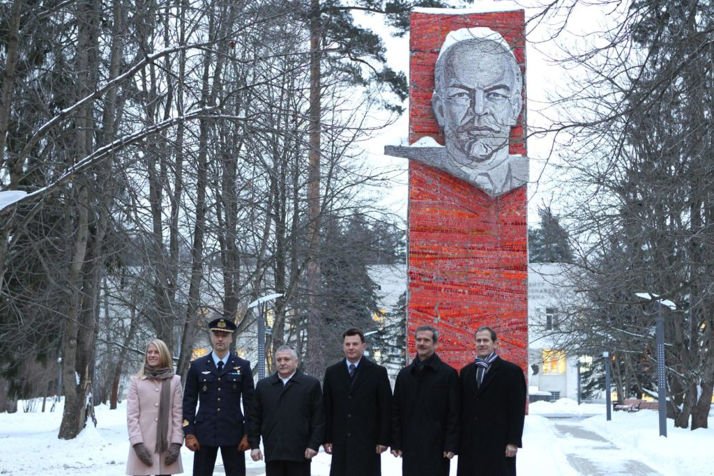 At the Gagarin Cosmonaut Training Center in Star City, Russia, the Expedition 34/35 prime and backup crewmembers pose for pictures in front of the statue of Vladimir Lenin Dec. 6, 2012 before departing for their launch site at the Baikonur Cosmodrome in Kazakhstan for final training. From left to right are backup crewmembers Karen Nyberg of NASA, Luca Parmitano of the European Space Agency and Russian cosmonaut Fyodor Yurchikhin and prime crewmembers Soyuz Commander Roman Romanenko, Flight Engineer Chris Hadfield of the Canadian Space Agency and Flight Engineer Tom Marshburn of NASA. Romanenko, Hadfield and Marshburn will launch Dec. 19 on their Soyuz TMA-07M spacecraft from Baikonur for a five-month mission on the International Space Station. Photo Credit: NASA/Stephanie Stoll jsc2012e241353