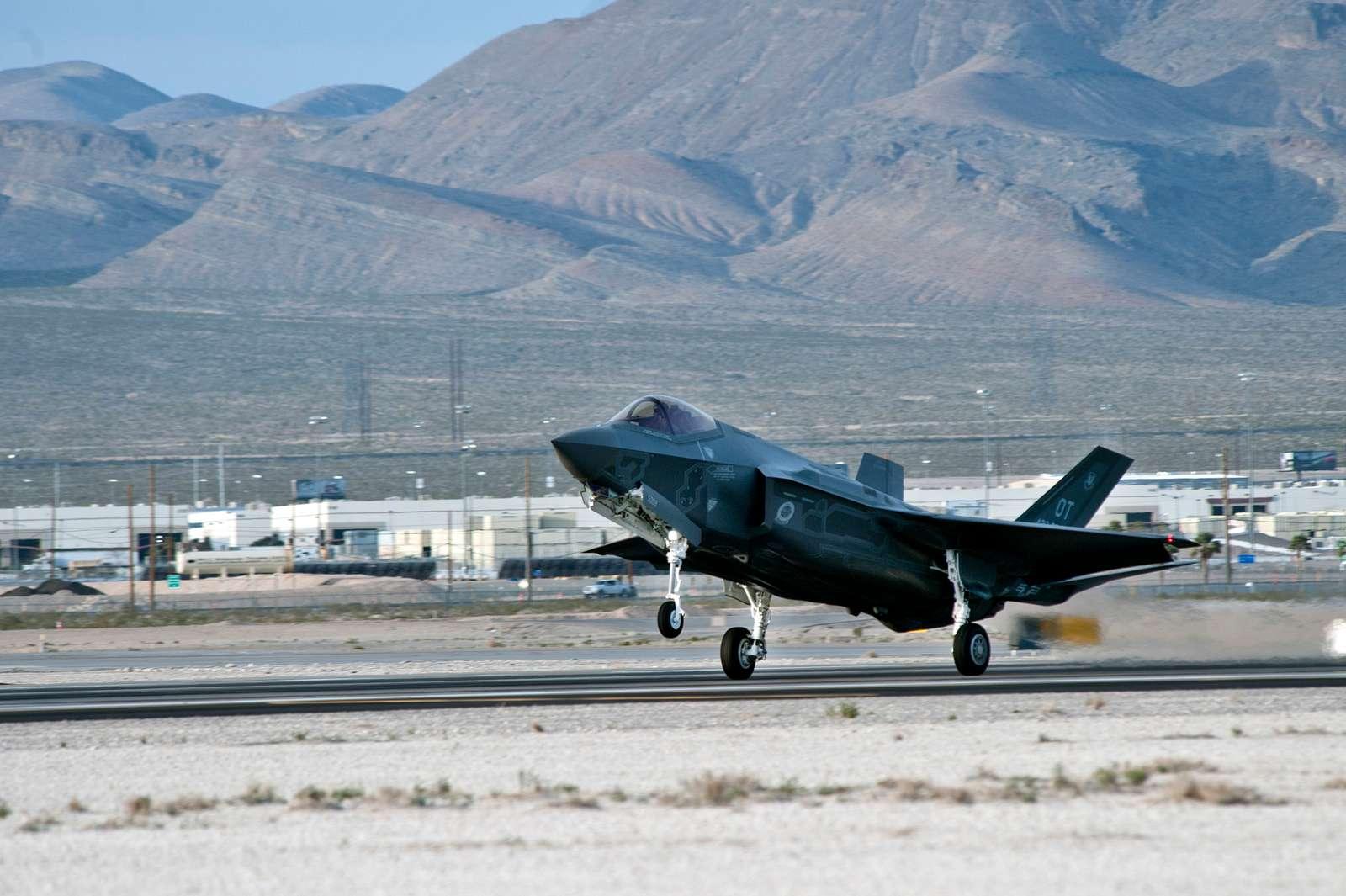 Lockheed Martin F-35 Lightning II lands at Nellis AFB