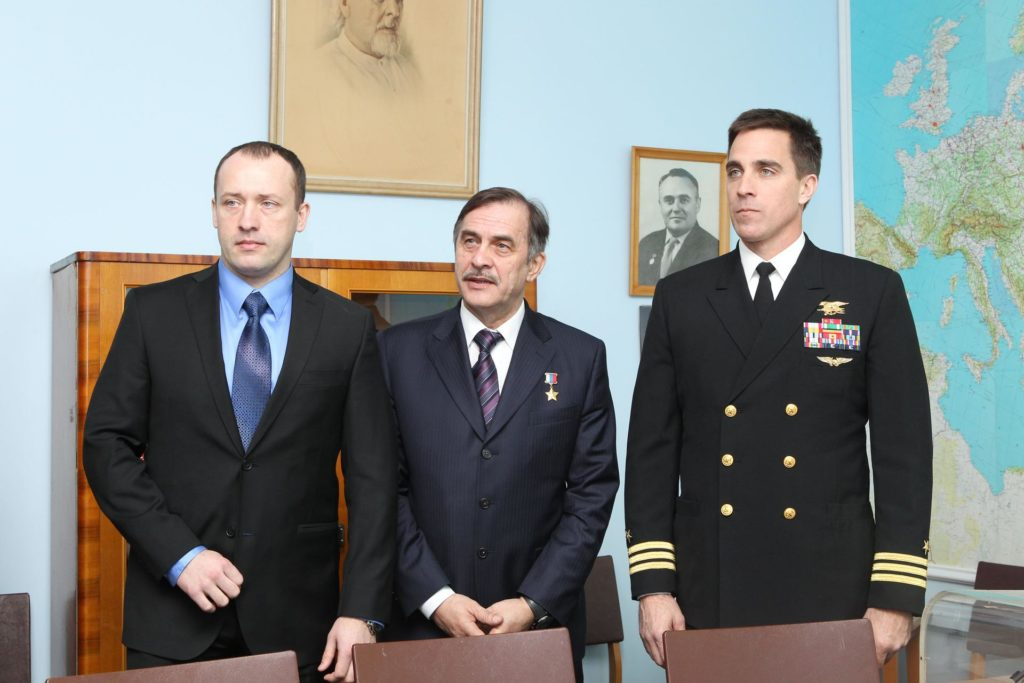 With a picture of the Russian great designer Sergei Korolev over his right shoulder, Expedition 35-36 Flight Engineer Chris Cassidy (right) poses for pictures March 7 with his crewmates, Flight Engineer Alexander Misurkin (left) and Soyuz Commander Pavel Vinogradov (center) at the Gagarin Museum at the Gagarin Cosmonaut Training Center in Star City, Russia. The three crewmembers are training for their launch to the International Space Station March 29, Kazakh time, in their Soyuz TMA-08M spacecraft from the Baikonur Cosmodrome in Kazkahstan. NASA / Stephanie Stoll jsc2013e013833