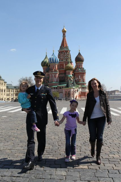 Expedition 36/37 Flight Engineer Luca Parmitano of the European Space Agency takes a stroll through Red Square in Moscow in front of St. Basil's Cathedral May 8 with his wife, Kathy Dillow, and their daughters. Parmitano, Soyuz Commander Fyodor Yurchikhin and Flight Engineer Karen Nyberg of NASA are preparing for their launch May 29, Kazakh time, in their Soyuz TMA-09M spacecraft from the Baikonur Cosmodrome in Kazakhstan for a six-month mission on the International Space Station. NASA/Stephanie Stoll jsc2013e030449