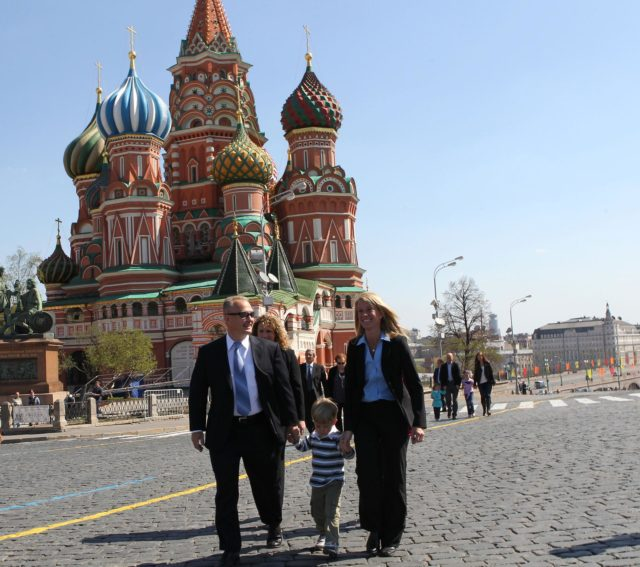 Expedition 36/37 Flight Engineer Karen Nyberg (right) takes a stroll through Red Square in Moscow in front of St. Basil's Cathedral May 8 with her husband, astronaut Doug Hurley (left) and their son, Soyuz Commander Fyodor Yurchikhin and Flight Engineer Luca Parmitano of the European Space Agency are preparing for their launch May 29, Kazakh time, in their Soyuz TMA-09M spacecraft from the Baikonur Cosmodrome in Kazakhstan for a six-month mission on the International Space Station. NASA/Stephanie Stoll jsc2013e030448