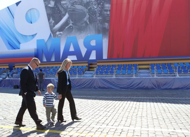 Expedition 36/37 Flight Engineer Karen Nyberg (right) takes a stroll through Red Square in Moscow May 8 in front of a grandstand with her husband, astronaut Doug Hurley (left) and their son. Red Square was decorated for commemorative activity in honor of Russian Victor Day May 9. Nyberg, Soyuz Commander Fyodor Yurchikhin and Flight Engineer Luca Parmitano of the European Space Agency are preparing for their launch May 29, Kazakh time, in their Soyuz TMA-09M spacecraft from the Baikonur Cosmodrome in Kazakhstan for a six-month mission on the International Space Station. NASA/Stephanie Stoll jsc2013e030450