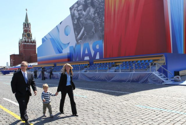 Expedition 36/37 Flight Engineer Karen Nyberg (right) takes a stroll through Red Square in Moscow in front of a grandstand and the Kremlin May 8 with her husband, astronaut Doug Hurley (left) and their son. Red Square was decorated for commemorative activity in honor of Russian Victor Day May 9. Nyberg, Soyuz Commander Fyodor Yurchikhin and Flight Engineer Luca Parmitano of the European Space Agency are preparing for their launch May 29, Kazakh time, in their Soyuz TMA-09M spacecraft from the Baikonur Cosmodrome in Kazakhstan for a six-month mission on the International Space Station. NASA/Stephanie Stoll jsc2013e030451