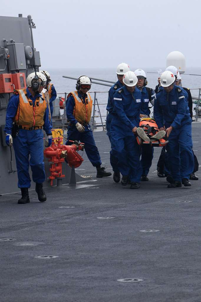 Sailors with the Japanese Maritime Defense Forces conduct
