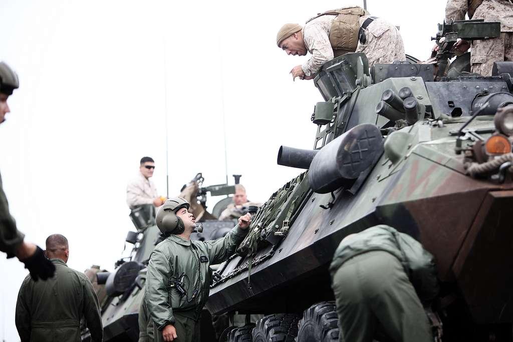 U.S. Marine Light Armored Vehicles (LAV-25) with 3rd