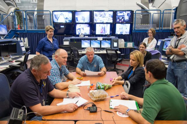 PHOTO DATE:  07-18-13 LOCATION:  Bldg. 9NW - ISS Mockups  SUBJECT: Expedition 38 crew's Emergency Scenarios Training in SVMTF's ISS Mockups. PHOTOGRAPHER: BILL STAFFORD jsc2013e070674