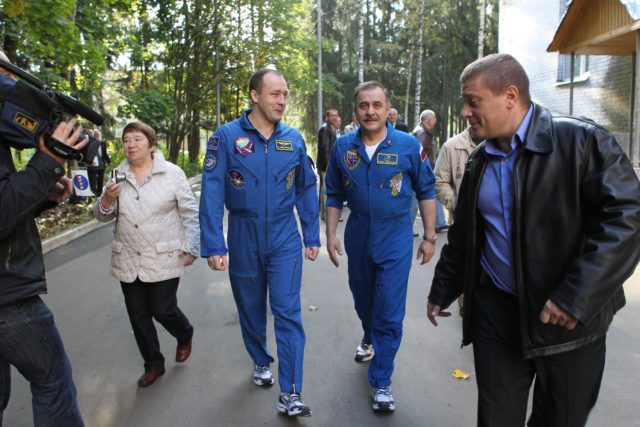 Fresh off of their return to Earth following almost six months aboard the International Space Station, Expedition 36 crewmembers Alexander Misurkin (left) and Pavel Vinogradov (right) take a stroll at the Gagarin Cosmonaut Training Center in Star City, Russia Sept. 13 following a departure ceremony for Expedition 37/38 Soyuz Commander Oleg Kotov, Flight Engineer Sergey Ryazanskiy and NASA Flight Engineer Michael Hopkins. Misurkin and Vinogradov landed in their Soyuz spacecraft on the steppe of Kazakhstan Sept. 11 with NASA's Chris Cassidy. Hopkins, Kotov and Ryazanskiy left Star City for their launch site at the Baikonur Cosmodrome in Kazakhstan where they will launch Sept. 26, Kazakh time, in the Soyuz TMA-10M spacecraft for a five and a half month mission on the International Space Station.  NASA/Stephanie Stoll jsc2013e087553