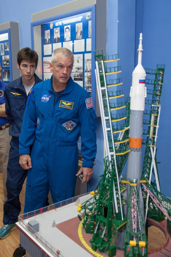 Expedition 37/38 backup crewmember Steve Swanson of NASA views a model of a Soyuz rocket during a tour of the famed Korolev Museum at the Baikonur Cosmodrome in Kazakhstan Sept. 17. Swanson, Alexander Skvortsov and Oleg Artemyev are serving as backups to the prime crewmembers, Flight Engineer Michael Hopkins of NASA, Soyuz Commander Oleg Kotov and Flight Engineer Sergey Ryazanskiy, who are preparing for launch Sept. 26, Kazakh time from the Baikonur Cosmodrome in the Soyuz TMA-10M spacecraft for a five and a half month mission on the International Space Station.  NASA/Victor Zelentsov jsc2013e087838