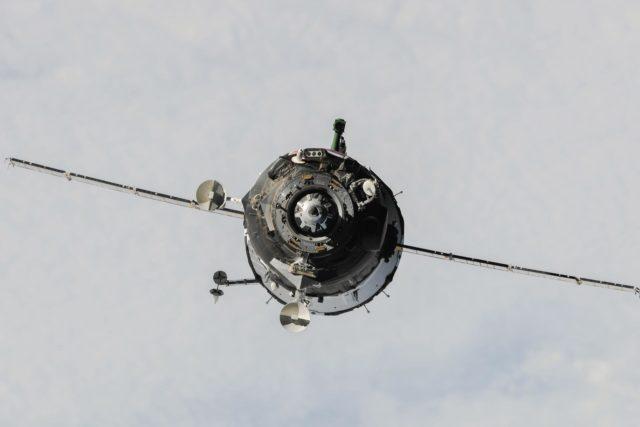 Soyuz TMA-10M spacecraft approach to ISS