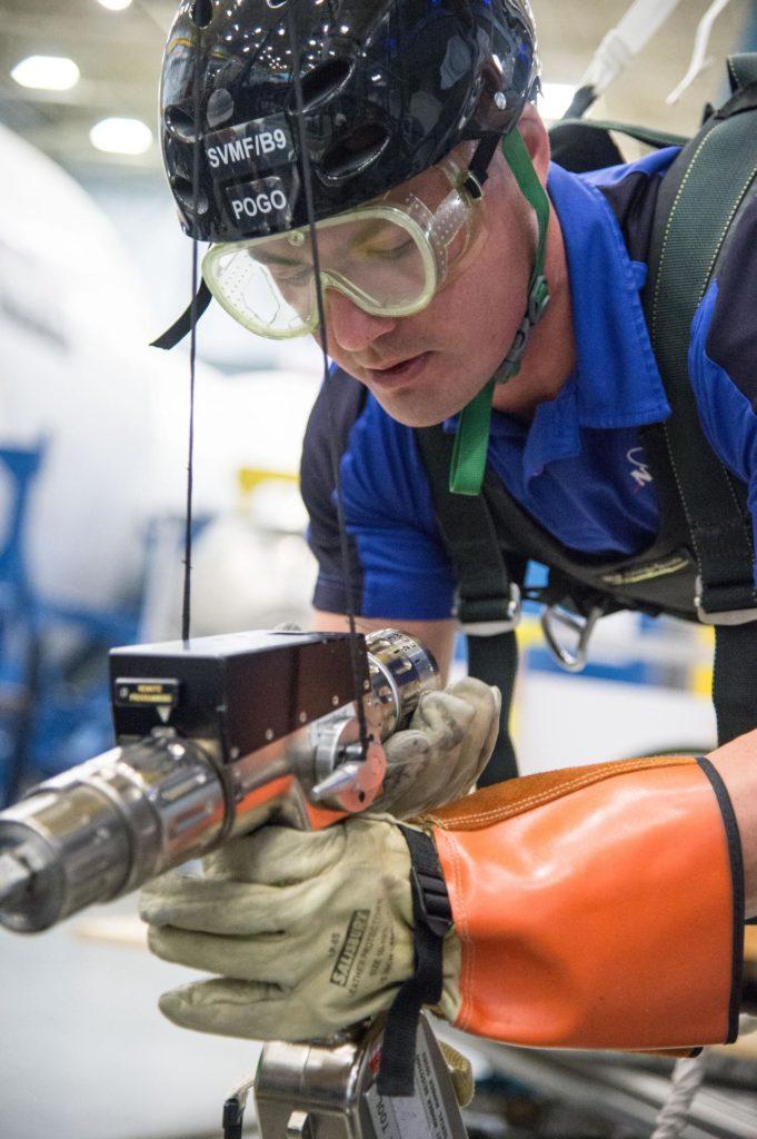 DATE: 1-7-14 LOCATION: Bldg. 9NW - POGO Stand SUBJECT: Expedition 44 astronaut Kjell Lindgren during ISS EVA POGO 1 training. PHOTOGRAPHER: Lauren Harnett jsc2014e004170