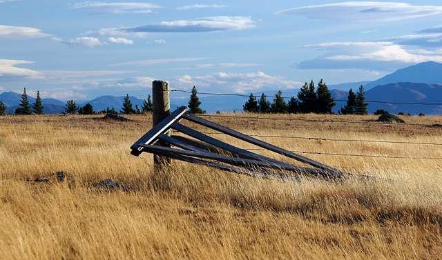 The broken farm gate.