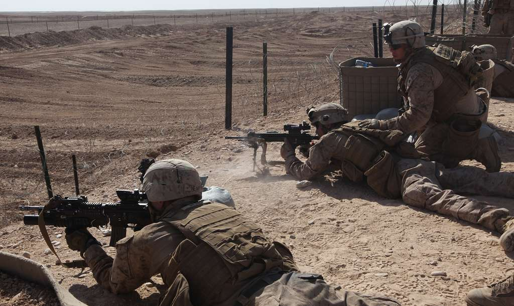A five-man team of infantry Marines with Charlie Company,