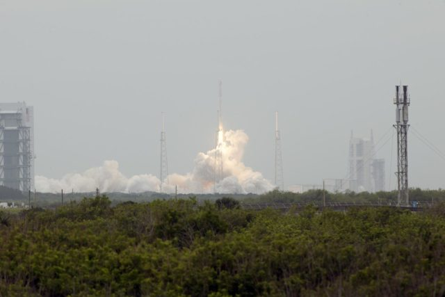 CAPE CANAVERAL, Fla. - An exhaust cloud builds under the Falcon 9 rocket on Space Launch Complex 40 on Cape Canaveral Air Force Station as the SpaceX-3 mission lifts off, carrying the Dragon resupply spacecraft to the International Space Station. Liftoff was during an instantaneous window at 3:25 p.m. EDT.    Dragon is making its fourth trip to the space station. The SpaceX-3 mission, carrying almost 2.5 tons of supplies, technology and science experiments, is the third of 12 flights through a $1.6 billion NASA Commercial Resupply Services contract. Dragon's cargo will support more than 150 experiments that will be conducted during the station's Expeditions 39 and 40.     For more information, visit http://www.nasa.gov/mission_pages/station/structure/launch/index.html.  Photo credit: NASA/George Roberts KSC-2014-2159