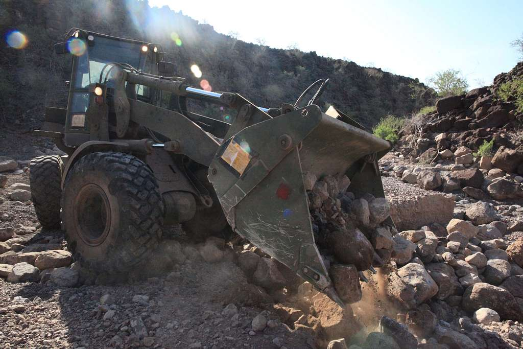 A U.S. Marine Corps heavily armored front-end loader