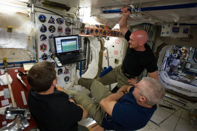 Expedition 40 crew watch World Cup match