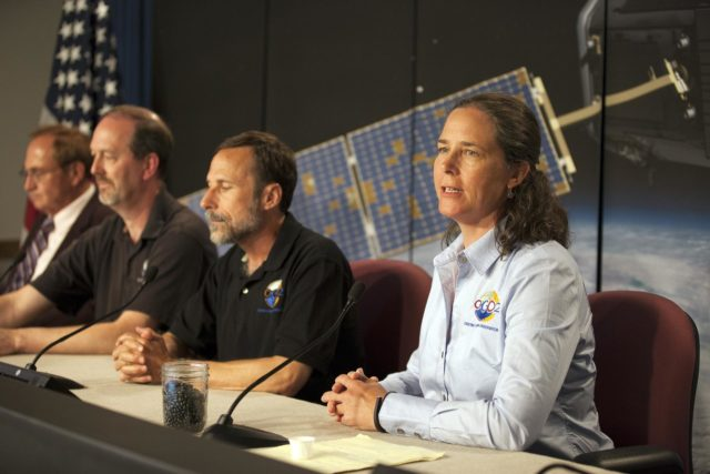 "VANDENBERG AIR FORCE BASE, Calif. – From left, George Diller, NASA Public Affairs Ken Jucks, Orbiting Carbon Observatory-2, or OCO-2, project executive at NASA Headquarters David Crisp, OCO-2 science team leader at NASA's Jet Propulsion Laboratory, or JPL and Annmarie Eldering, OCO-2 deputy project scientist at JPL, participate in a mission science briefing at Vandenberg Air Force Base in California prior to the launch of the observatory.    Launch aboard a United Launch Alliance Delta II rocket from Space Launch Complex 2 is scheduled for 5:56 a.m. EDT on July 1.  OCO-2 is NASA's first mission dedicated to studying atmospheric carbon dioxide, the leading human-produced greenhouse gas driving changes in Earth's climate. OCO-2 will provide a new tool for understanding the human and natural sources of carbon dioxide emissions and the natural ""sinks"" that absorb carbon dioxide and help control its buildup. The observatory will measure the global geographic distribution of these sources and sinks and study their changes over time. To learn more about OCO-2, visit http://www.nasa.gov/oco2.  Photo credit: NASA/Kim Shiflett KSC-2014-3051"
