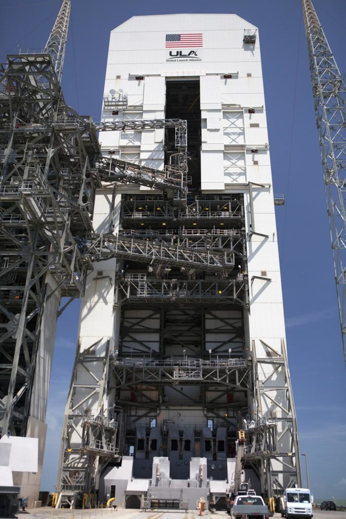 CAPE CANAVERAL, Fla. – The umbilical swing arm for Orion's Exploration Flight Test 1, or EFT-1, has been attached to the uppermost location on the fixed umbilical tower at Space Launch Complex 37 at Cape Canaveral Air Force Station in Florida. All three swing arms on the tower are undergoing tests to confirm that they are operating correctly. They are being swung out and closer to the Vertical Integration Facility at the pad.    The uppermost swing arm will carry umbilicals that will be mated to Orion's launch abort system and environmental control system. During launch, all three umbilicals will pull away from Orion and the United Launch Alliance Delta IV Heavy rocket at T-0. During the EFT-1 mission, Orion will travel farther into space than any human spacecraft has gone in more than 40 years.  The data gathered during the flight will influence design decisions, validate existing computer models and innovative new approaches to space systems development, as well as reduce overall mission risks and costs for later Orion flights. Liftoff of Orion on its first flight test is planned for fall 2014. Photo credit: NASA/Daniel Casper KSC-2014-3667