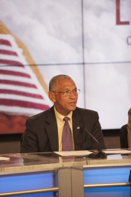 CAPE CANAVERAL, Fla. – Charles Bolden, NASA administrator, announces the Commercial Crew Transportation Capability CCtCap contract awards designed to complete the NASA certification for human space transportation systems capable of carrying people into orbit. Once certification is complete, NASA plans to use these systems to ferry astronauts to the International Space Station and return them safely to Earth.  Speaking from Kennedy Space Center's Press Site, Bolden detailed the importance of the effort by the agency's Commercial Crew Program for United States space exploration ambitions and the economic potential of creating new markets in space transportation for people. Boeing and SpaceX were awarded contracts to complete the design of the CST-100 and Crew Dragon spacecraft, respectively, and begin manufacturing for flight tests with a goal of achieving certification to take astronauts to the International Space Station by 2017. CCtCap also covers the beginning of operational missions for these new spacecraft and their systems. NASA spokeswoman Stephanie Schierholz, former astronaut Bob Cabana, director of Kennedy Space Center, Kathy Lueders, manager of the agency's Commercial Crew Program, and former International Space Station Commander Mike Fincke also took part in the announcement. Photo credit: NASA/Jim Grossmann KSC-2014-3926