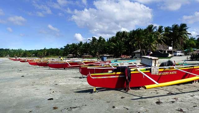 Colourful fishermens boats. Ilocos Norte.