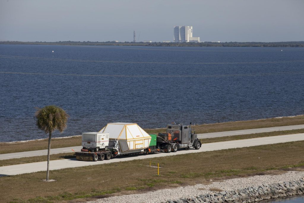Aerial of the Orion EFT-1 Arrival at KSC