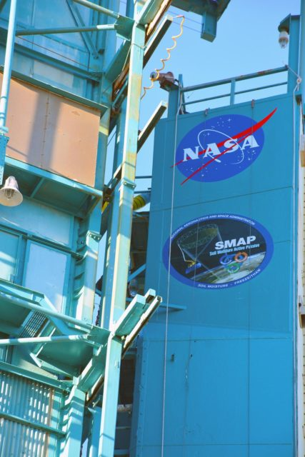 VANDENBERG AFB, California – Detail of mission and NASA logos at Space Launch Complex-2 at Vandenberg AFB, California - the launch site for NASA's SMAP spacecraft. For more, go to www.nasa.gov/smap Photo credit: NASA/Randy Beaudoin KSC-2015-1165