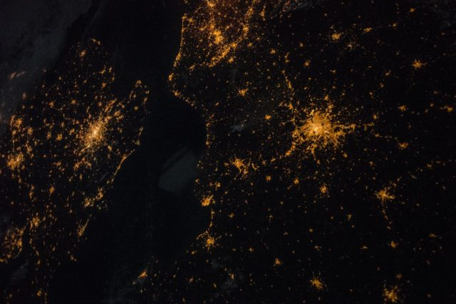 "ISS042E230335 (02/06/2015) --- This Earth observation image taken at night on Feb. 6, 2015 from the International Space Station shows northern central Europe. US Astronaut Terry Virts tweeted the image on Mar. 5, 2015 with the comment ""A tale of two cities. #London #Paris"" iss042e230335"