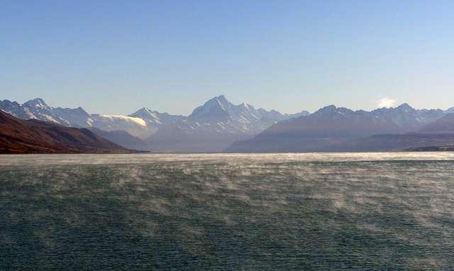 Misty Lake Pukaki and Mt Cook.