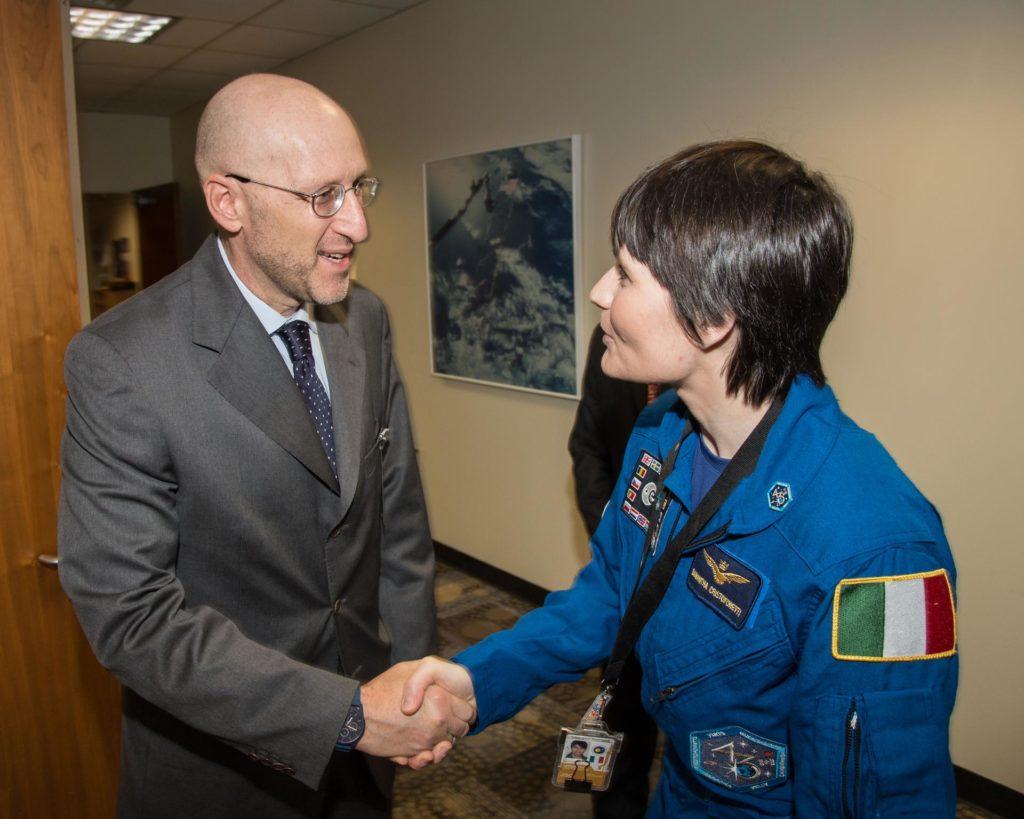 PHOTO DATE:  06-15-15.LOCATION: Bldg. 2south, Studio B.SUBJECT: ESA Astronaut Samantha Chrisoforetti and the Italian Deputy Ambassador and Consul General to the United States.PHOTOGRAPHER: BILL STAFFORD