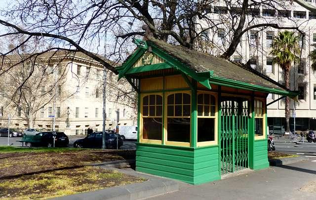 Melbourne tram shelters.