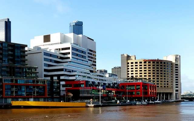 WTC Wharf. Yarra River Melbourne.