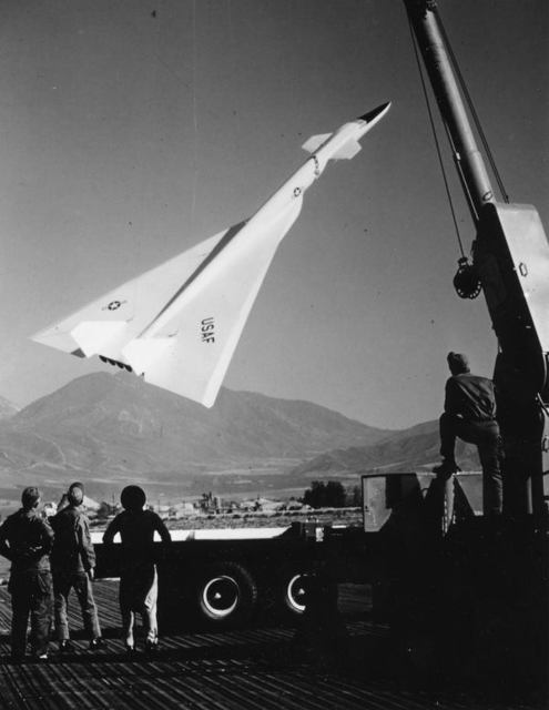 B-70 Model Being Hoisted