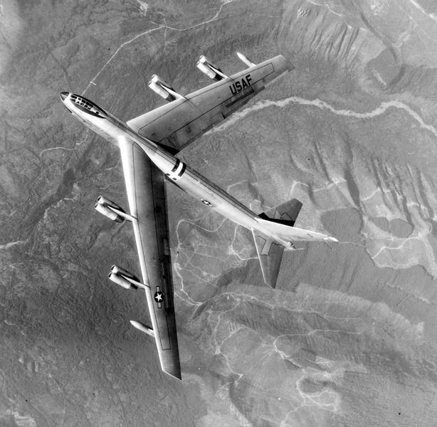 YB-52 Top In Flight