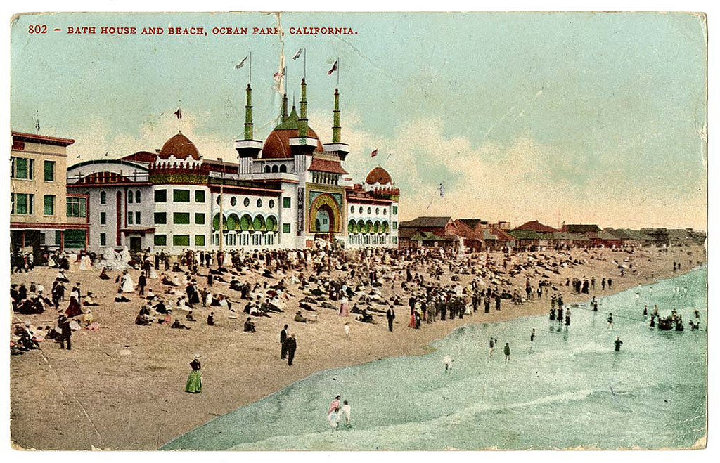 Bath house and beach, Ocean Park, California