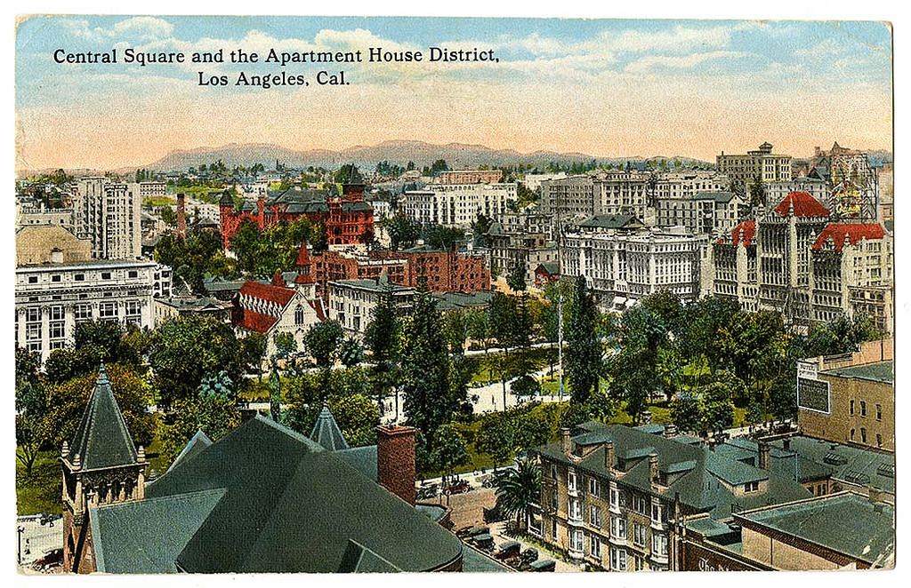 Central Square and the apartment house district, Los Angeles, Cal.