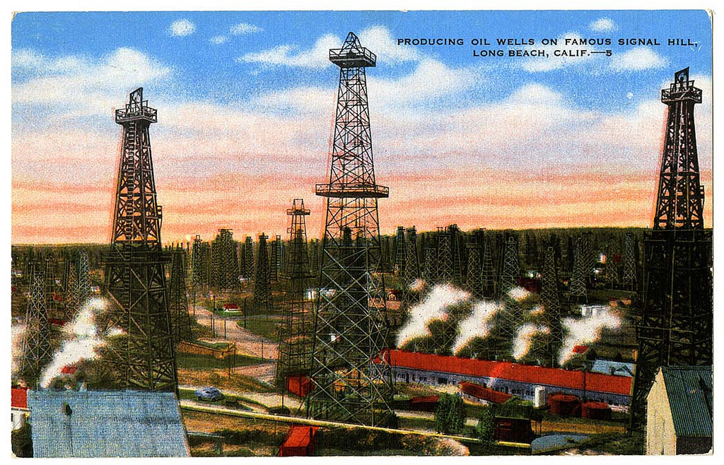 Producing oil wells on famous Signal Hill, Long Beach, Calif.