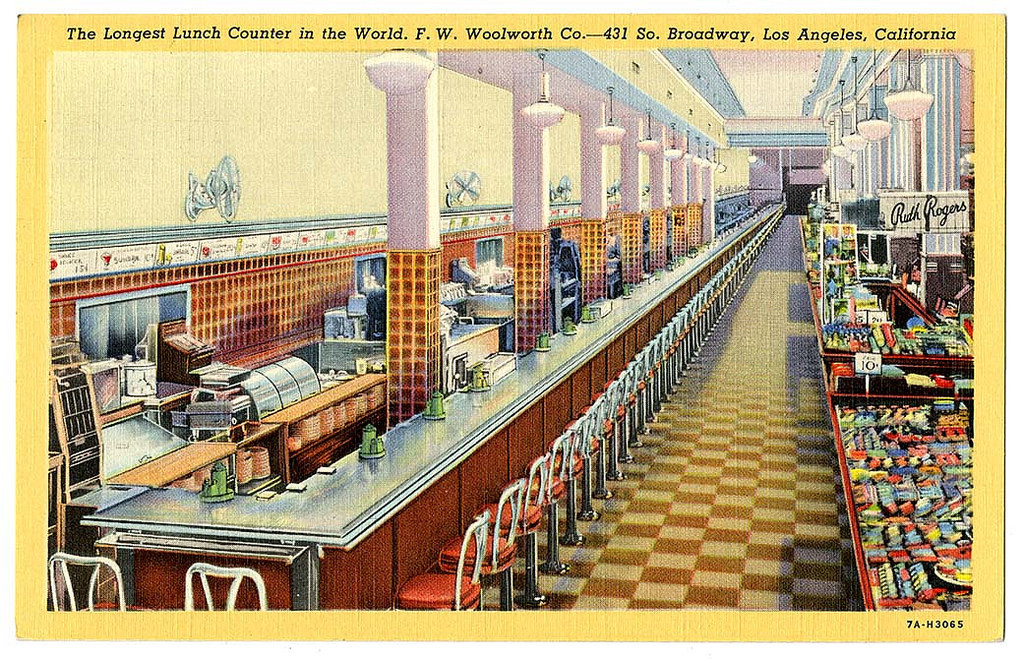 The longest lunch counter in the world. F.W. Woolworth Co., 431 So. Broadway, Los Angeles, California