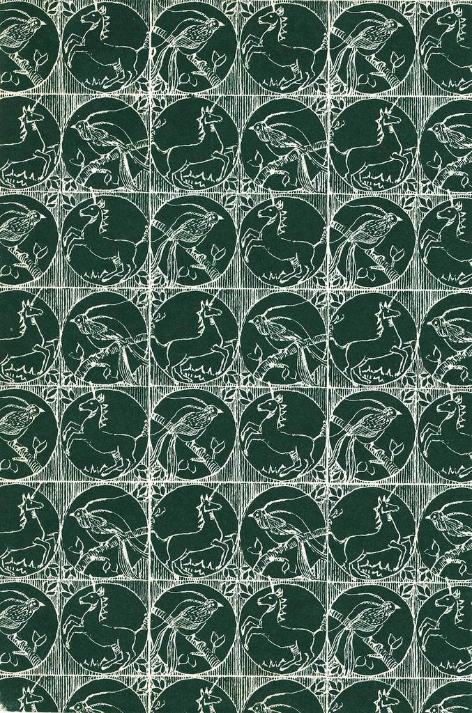 Green pattern unicorn & bird