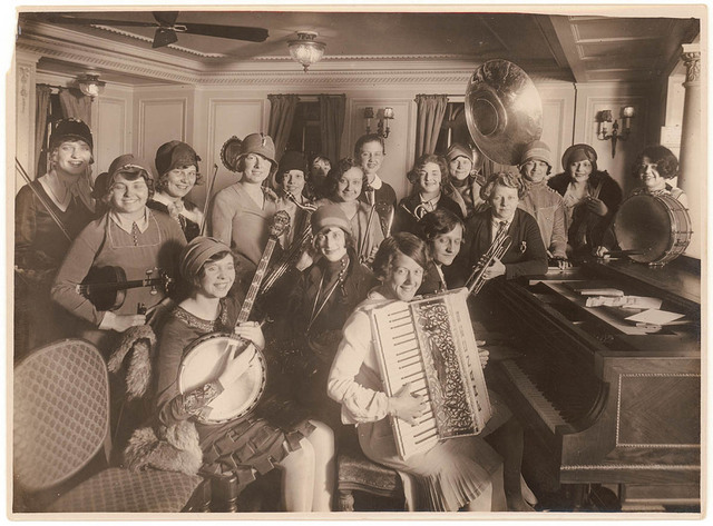Women's jazz band on a ship