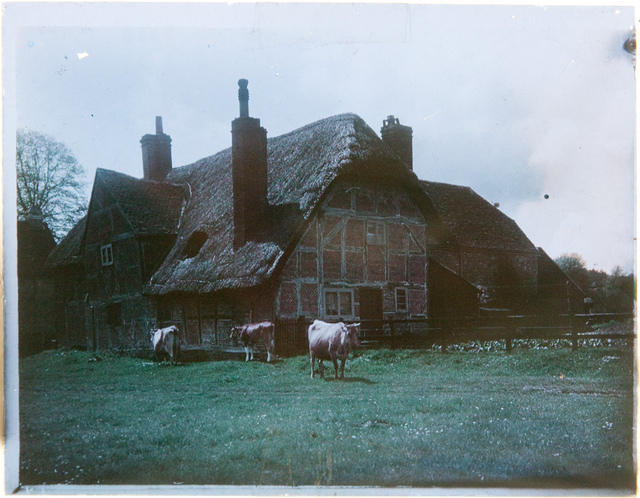 Early colour image of thatched cottages, now identified as Corhampton, Hampshire. Paget Colour process (full image)