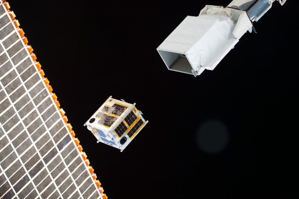 ISS047e083584 (04/27/2016) --- The DIWATA-1 satellite is deployed from outside of the Japanese Kibo modul. Intended to observe earth and monitor climate changes, this was the first microsatellite owned by the Philippine government that involved Filipino engineers in the development. It was a joint project between Philippine and Japanese universities. iss047e083584
