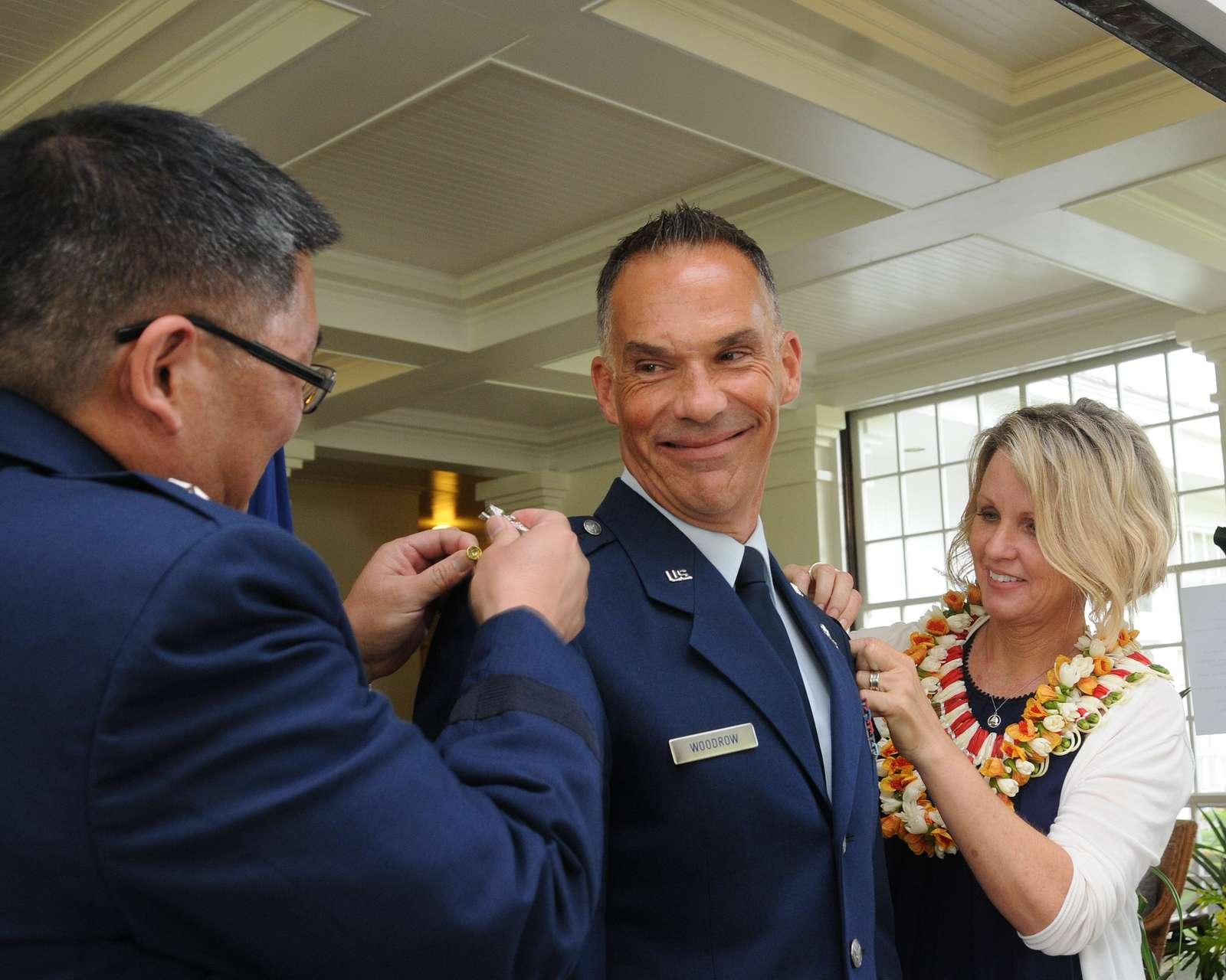 Air Force Brig. Gen. Gregory S. Woodrow is pinned on