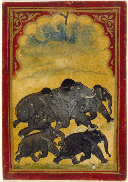 Five Galloping Elephants, Number Six of the Gajpati (Lord of Elephants) Suit, Playing Card from a Mughal Ganjifa Set LACMA M.73.55.10